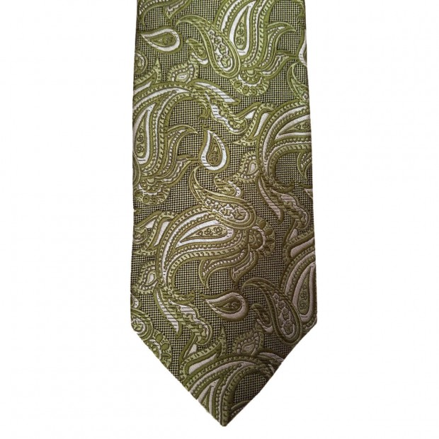 Green Silk Paisley/Floral Wide Tie
