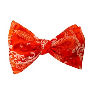 Orange Silk Paisley/Floral Bow Tie | Passion Paisley