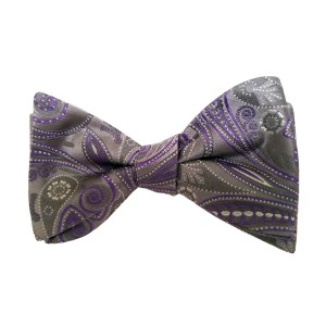 Purple Silk Paisley/Floral Bow Tie | Passion Paisley