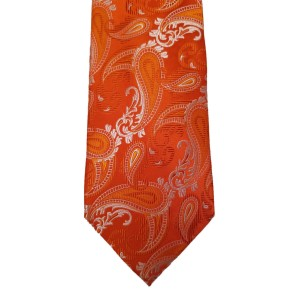 Orange Silk Paisley/Floral Wide Tie | Passion Paisley