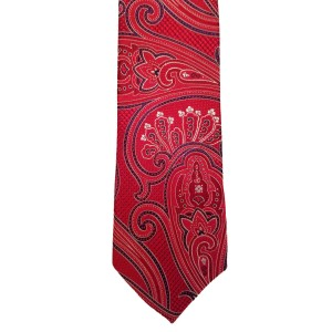 Red Silk Paisley/Floral Skinny Ties | Patterson Paisley