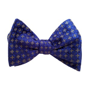 Blue Silk Polka Dot/Geo Bow Tie | Hubbard Dot