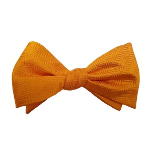 Orange Silk Solid Bow Tie | Herringbone Orange
