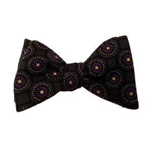 Black Silk Polka Dot/Geo Bow Tie | Clybourn Dot