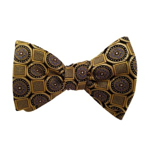 Yellow Silk Polka Dot/Geo Bow Tie | Clybourn Dot