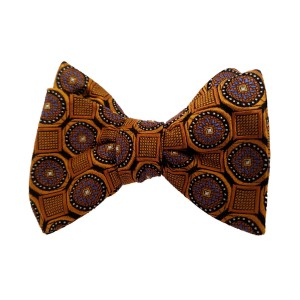 Orange Silk Polka Dot/Geo Bow Tie | Clybourn Dot