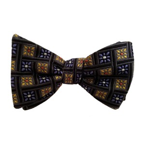 Black Silk Polka Dot/Geo Bow Tie | Vegas Dot