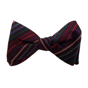 Brown Silk Stripes Bow Tie | Arlington Stripe