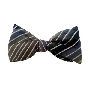 Blue Silk Stripes Bow Tie | Relax Stripe