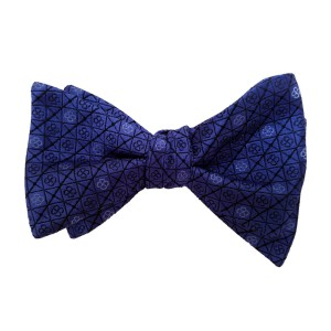 Blue Silk Polka Dot/Geo Bow Tie | Royal Blue