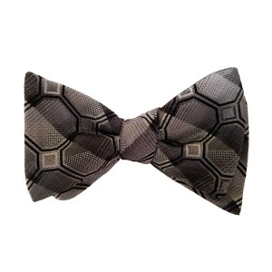 Black Silk Polka Dot/Geo Bow Tie | Draper Dot