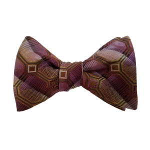 Purple Silk Polka Dot/Geo Bow Tie | Draper Dot