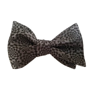 Black Silk Polka Dot/Geo Bow Tie | Venetian Dot