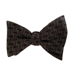Black Silk Polka Dot/Geo Bow Tie | Belmont Black