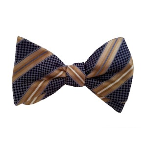 Brown Silk Stripes Bow Tie | Darien Stripe