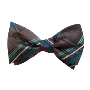 Silver Silk Stripes Bow Tie | Belmont Stripe