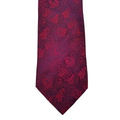 Red  Paisley/Floral Wide Tie | Crimson Paisley
