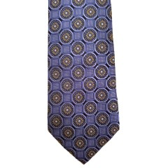 Blue Silk Polka Dot/Geo Wide Tie | Clybourn Dot