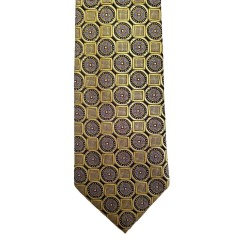 Brown Silk Polka Dot/Geo Wide Tie | Clybourn Dot