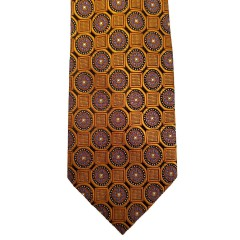 Orange Silk Polka Dot/Geo Wide Tie | Clybourn Dot