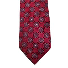 Red Silk Polka Dot/Geo Wide Tie | Clybourn Dot