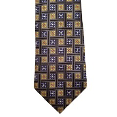 Yellow Silk Polka Dot/Geo Wide Tie | Vegas Dot