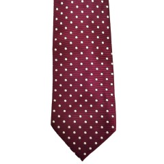 "Red Silk Polka Dot/Geo Wide Tie | Burgundy Bliss 3.5""W"