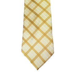 Yellow Silk Stripes Wide Tie | Diamond Stripe