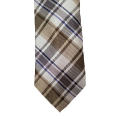 Brown Silk Plaid Wide Tie | Grant Park