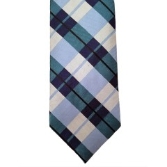 Blue Silk Plaid Wide Tie | Roscoe Plaid