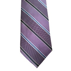 Purple Silk Stripes Wide Tie | Royal Purple