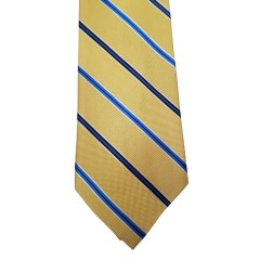 Yellow Silk Stripes Wide Tie | Royal Yellow