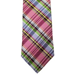Pink Silk Plaid Wide Tie | Passion Plaid
