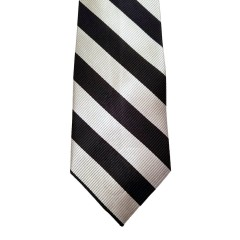 White Silk Stripes Wide Tie | Waldorf Stripe