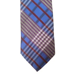 Blue Silk Plaid Wide Tie | Dunes Plaid