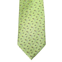 Green Silk Polka Dot/Geo Wide Tie | Sailboat Lime