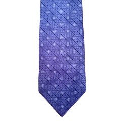 Blue Silk Polka Dot/Geo Wide Tie | Royal Dot