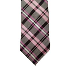 Pink Silk Plaid Wide Tie | Holly Plaid