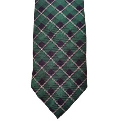 Green Silk Plaid Wide Tie | Kelly Plaid