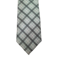 Green Silk Stripes Wide Tie | Diamond Stripe