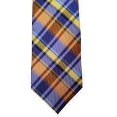 Orange Silk Plaid Wide Tie | Fall Plaid