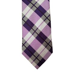 Pink Silk Plaid Wide Tie | Paramount Plaid